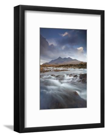 Black Cuillin Mountains with the River Sligachan, Isle of Skye, Inner Hebrides, Scotland, UK