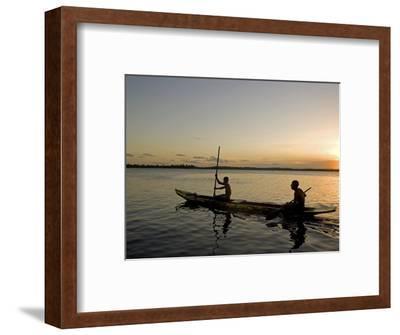 Bahia, Barra De Serinhaem, Fishermen Returning to Shore at Sunset in Thier Dug Out Canoe, Brazil