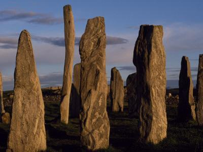 Sunset over the Central Circle of Ancient Standing Stones at Callanish, Dating to Neolithic Times