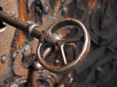 Sweden, Island of Gotland; a Antique Key and Lock Still in Use on the Medieval Church Door
