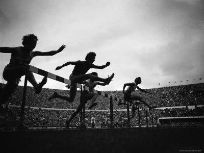 Action During the Women's 100m Hurdles at the 1952 Olympic Games in Helsinki