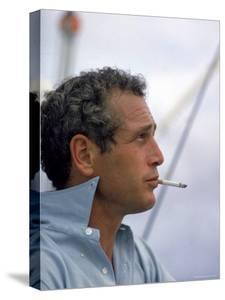 Actor Paul Newman Taking a Cigarette Break by Mark Kauffman