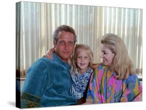 Actors Paul Newman and Joanne Woodward at Home with Their Daughter by Mark Kauffman