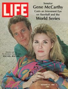 """Actors Paul Newman and Wife Joanne Woodward, Collaboration for """"Rachel, Rachel"""", October 18, 1968 by Mark Kauffman"""