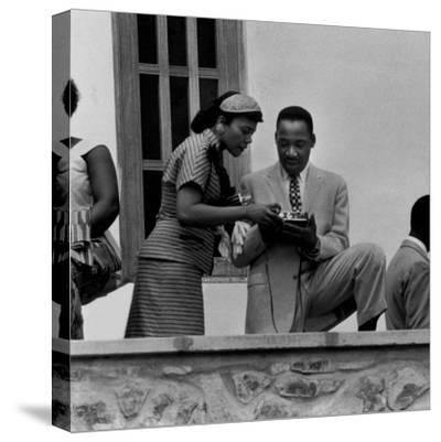 Civil Rights Leader Rev. Martin Luther King Jr. and Wife Visiting Ghanain Independence Ceremonies