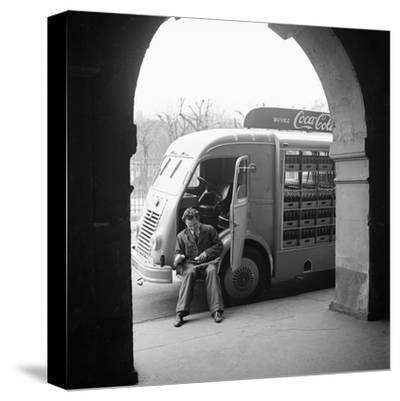 Delivery Truck Driver Sits with His Coca Cola Truck During His Route, France, 1950