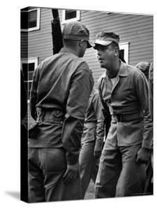 Drill Instructor Chewing Out a Recruit He Hopes to Turn Into a Marine at Training Camp by Mark Kauffman