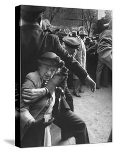 Eisenhower Presidential Campaign Old Lady Held Back by Police with Appearance by Mamie Eisenhower by Mark Kauffman