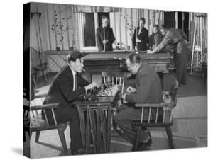 Employees of Mylly Koski Playing Pool and Chess in Game Room by Mark Kauffman