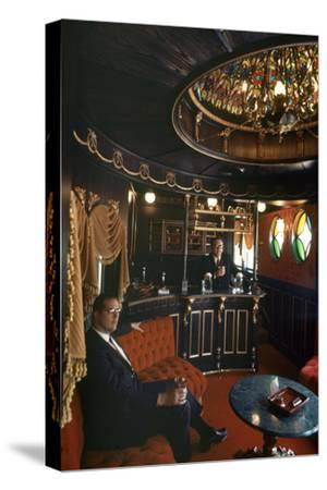 Judge Roy Mark Hofheinz in His Private Railway Car Bar Touring Astroworld Amusement Park, 1968