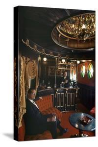 Judge Roy Mark Hofheinz in His Private Railway Car Bar Touring Astroworld Amusement Park, 1968 by Mark Kauffman