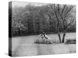 Member of the Us Equestrian Team Jumping the Hurdles in the Fields During the Pre Olympic Practices by Mark Kauffman