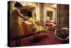 Woman in a Beauty Salon in the Harris County Domed Stadium 'Astrodome', Houston, TX, 1968 by Mark Kauffman