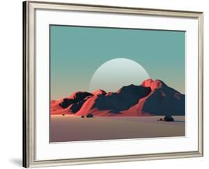 Low-Poly Mountain Landscape at Dusk with Moon by Mark Kirkpatrick