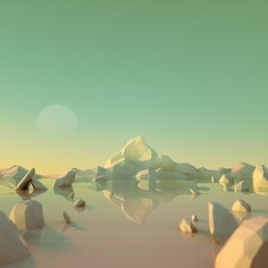 Low-Poly Mountain Landscape Reflecting on Water by Mark Kirkpatrick