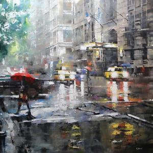 Manhattan Red Umbrella by Mark Lague
