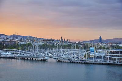 Barcelona Marina at Sunset, Barcelona, Catalonia, Spain