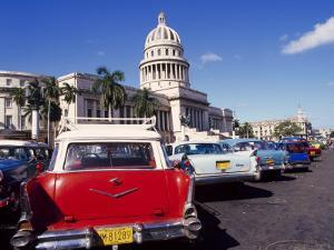 Street Scene of Taxis Parked Near the Capitolio Building in Central Havana, Cuba, West Indies by Mark Mawson