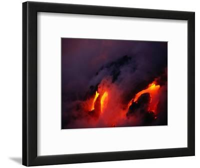 Lava Flowing into the Ocean from Puu Oo Vent, Mt. Kilauea, Hawaii Volcanoes National Park, Hawaii