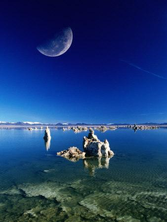 Moon Over Tufa Formations, Mono Lake Tufa State Reserve, Mono Lake, U.S.A.