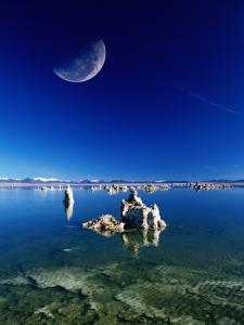 Moon Over Tufa Formations, Mono Lake Tufa State Reserve, Mono Lake, U.S.A. by Mark Newman