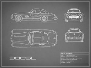Mercedes 300SL Gullwing-Grey by Mark Rogan