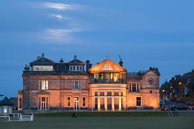 Moonrise over the Royal and Ancient Golf Club, St. Andrews, Fife, Scotland, United Kingdom, Europe