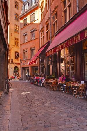 People Enjoying the Restaurants of Vieux Lyon, Lyon, Rhone, Rhone-Alpes, France, Europe