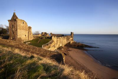 St. Andrews Castle and Castle Sands from the Scores at Sunrise, Fife, Scotland, UK