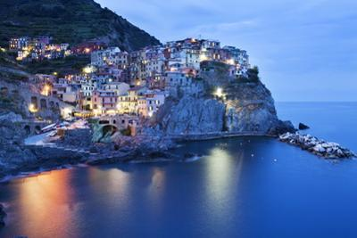 The Cinque Terre Village of Manarola at Dusk by Mark Sunderland