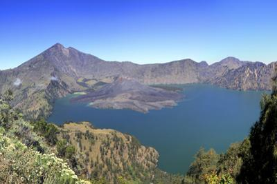 Panoramic View over the Lake Inside the Crater of Rinjani, Lombok, Indonesia