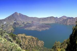Panoramic View over the Lake Inside the Crater of Rinjani, Lombok, Indonesia by Mark Taylor