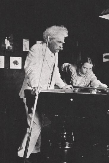 Mark Twain, American author, playing pool, c1900s(?)-Unknown-Photographic Print
