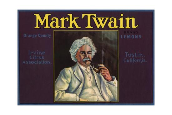 Mark Twain Brand - Tustin, California - Citrus Crate Label-Lantern Press-Art Print