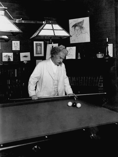 Mark Twain Playing Game of Pool--Photographic Print