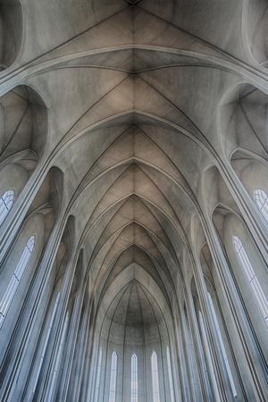 Iceland, Reykjavik, ribbed vaults in the modern Cathedral of Hallgrimskirkja.