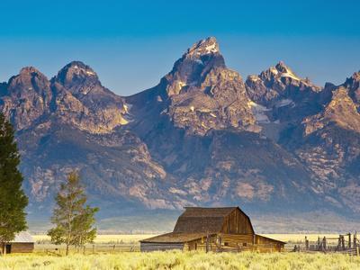 Teton Front Range and Mormon Barn at Sunrise, Grand Teton National Park, Wyoming, Usa