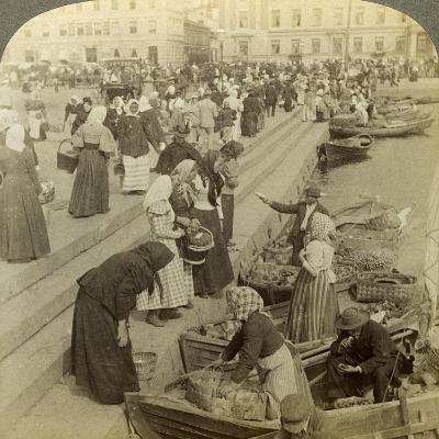 Market Boats, Helsinki, Finland-Underwood & Underwood-Photographic Print