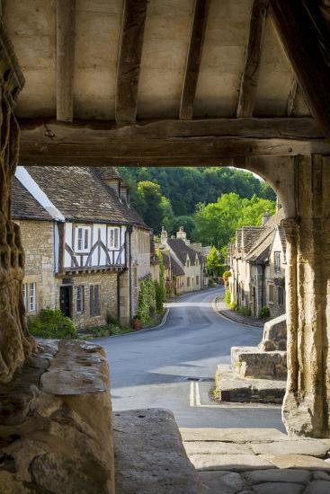 Market Cross Monument in Castle Combe, Cotswolds, Wiltshire, England-Brian Jannsen-Photographic Print