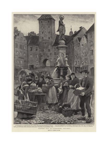 Market Day at Landsberg, Bavaria-Clement Flower-Giclee Print