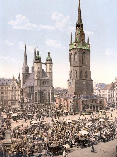 Market Day in Halle with the Red Tower in the Background, Germany, Pub. C.1895--Photographic Print