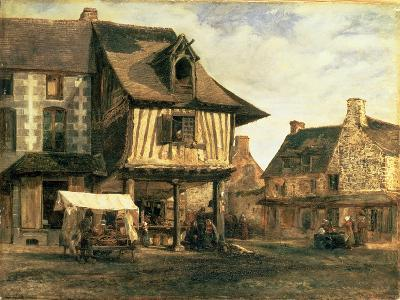 Market Place in Normandy, c.1832-Pierre Etienne Theodore Rousseau-Giclee Print