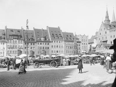 Market Place in Nuremberg--Photographic Print