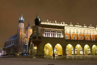 Market Square at Night, Poland, Krakow.-dziewul-Photographic Print