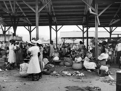 Market Vendors Selling Ground Provisions at the Coronation Market, C.1957--Photographic Print