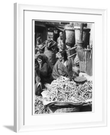 Market Women Offering Fruit and Vegetables in the Market at Kathmandu Nepal--Framed Photographic Print