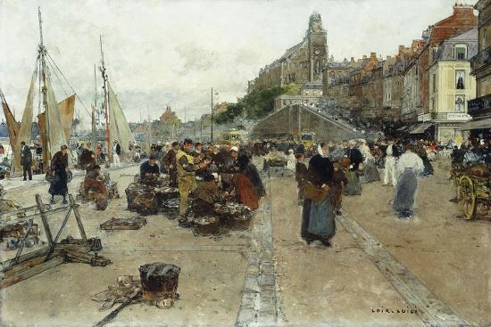 Marketplace by a Harbour-Luigi Loir-Giclee Print