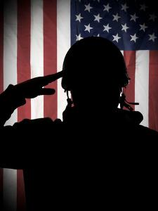 American (Usa) Soldier Saluting to USA Flag by Marko_Marcello