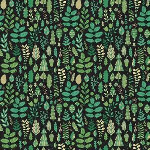 Vector Forest Design, Floral Seamless Pattern, Leaf Background. Plants Ornament by Markovka