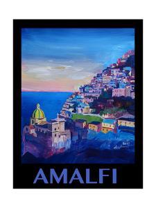 Amazing Amalfi Coast At Sunset - Retro Poster II by Markus Bleichner